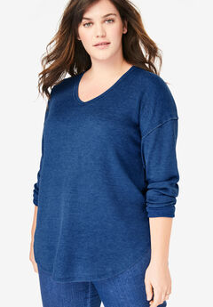 Long Sleeve V-Neck Thermal Tee, EVENING BLUE