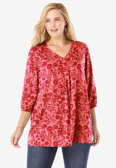 Pleat-Front Tunic With Three-Quarter Sleeves,