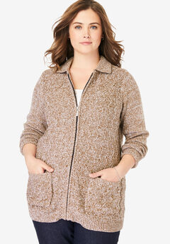 Marled Zip-Front Cable Knit Cardigan, SOFT BROWN WHITE