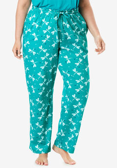 Knit Sleep Pant by Dreams & Co.®, WATERFALL DRAGONFLY