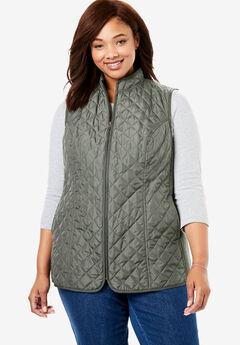 Zip-Front Quilted Vest,