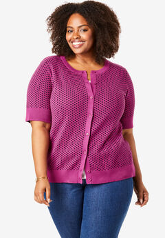 Perfect Elbow-Length Sleeve Cardigan, RASPBERRY DIAMOND