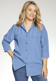 Cuffed Sleeve Peachskin Button Down Shirt,