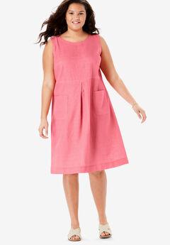 Pocketed Sleeveless Linen Dress, TEA ROSE