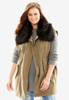 Fabulous Furs® Shawl Collar Anorak Vest,