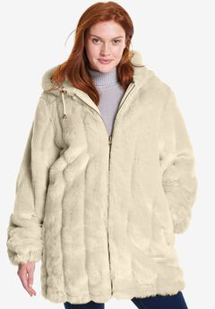 Hooded Faux Fur Jacket,