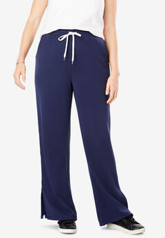 Striped Side Slit Fleece Pant,