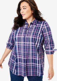 Perfect Long-Sleeve Button Down Shirt, EVENING BLUE PLAID