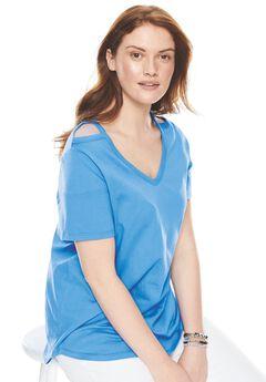 High-low cutout shoulder tee,