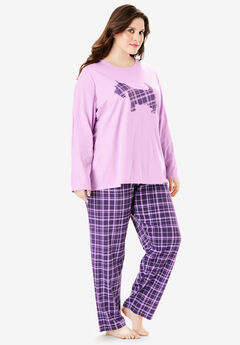 Long Sleeve Knit PJ Set by Dreams & Co.®, LIGHT ORCHID PUPPY