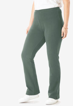Stretch Cotton Bootcut Yoga Pant, PINE