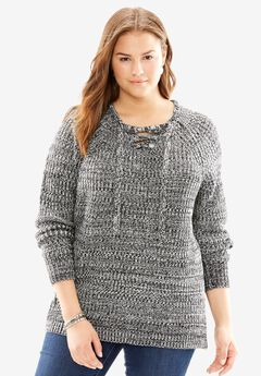 Laced Up Pullover Sweater,