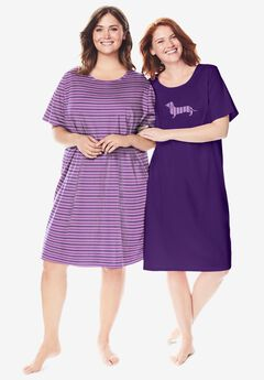 2-Pack Short-Sleeve Sleepshirt by Dreams & Co.®, LIGHT ORCHID STRIPE