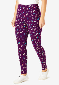 Stretch Cotton Printed Legging, DARK BERRY HOLLY DITSY