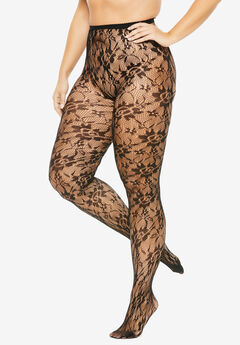 2-Pack Lace Tights by Comfort Choice®, BLACK