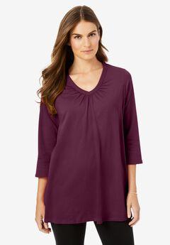 Perfect Three-Quarter Sleeve Shirred V-Neck Tee,