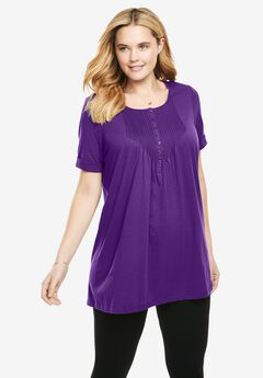 Pintucked Henley Tunic,