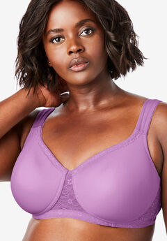 Lace Trim Microfiber Wireless T-Shirt Bra by Comfort Choice®, SOFT PLUM