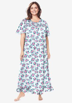 Long Floral Print Cotton Gown by Dreams & Co.®, IVORY ROSES