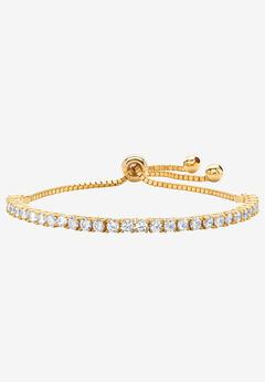"""Yellow Gold-Plated Bolo Bracelet (4mm), Cubic Zirconia, 10"""" Adjustable,"""