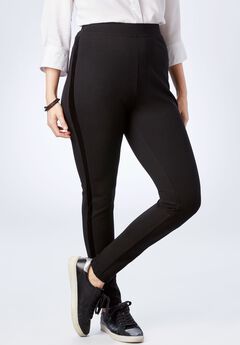 Velvet Side-Stripe Ponte Legging,