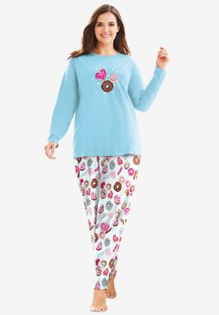 Long Sleeve Knit PJ Set by Dreams & Co.®, IVORY DONUTS