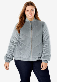 Velour Chevron-Quilted Puffer Jacket,