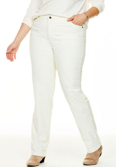 Corduroy Straight Leg Stretch Pant, IVORY