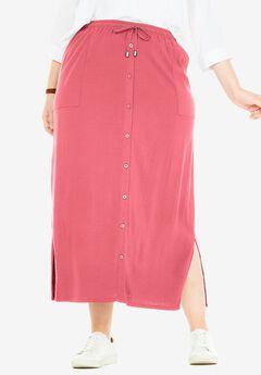 Button-Front Utility Maxi Skirt,