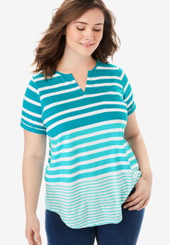 Striped Notch Neck Tee,
