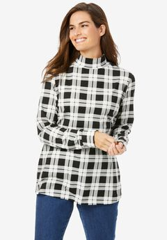 Perfect Printed Long-Sleeve Mock-Neck Tee, IVORY PLAID
