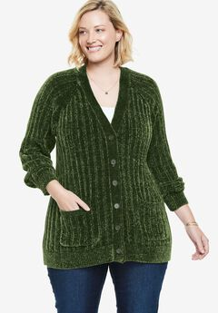 Chenille Button-Front Cardigan,