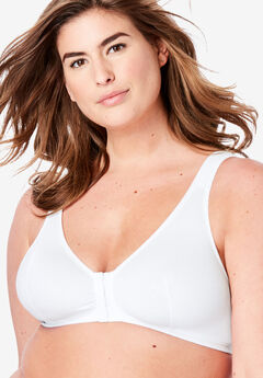 Leading Lady® Meryl Cotton Front-Close Wireless Bra #0110, WHITE