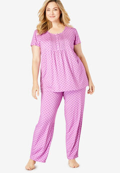 Only Necessities® Pintucked PJ Set, LIGHT ORCHID DOT