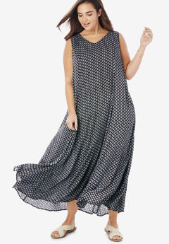 Sleeveless Crinkle A-Line Dress, BLACK DOT GEO