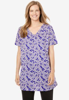 Perfect Printed Shirred V-Neck Tunic, DEEP PURPLE PAISLEY