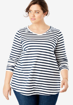 Perfect Printed V-Neck Long Sleeve Tee, NAVY/WHITE STRIPE