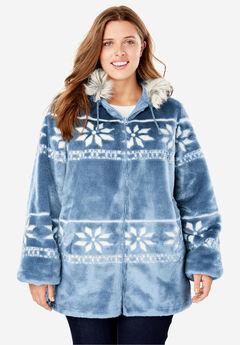Faux Fur Snowflake Print Hooded Jacket,