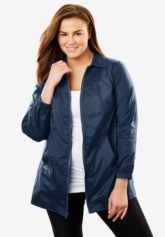 Zip Front Nylon Jacket, NAVY