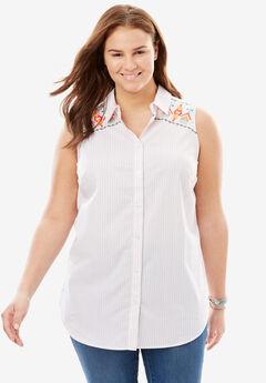 Button Down Sleeveless Perfect Shirt,
