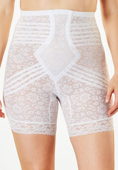 Jacquard Lace Shaping Thigh Slimmer by Rago®, WHITE