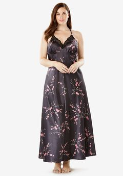 Print Lace-Trim Satin Nightgown by Amoureuse®,