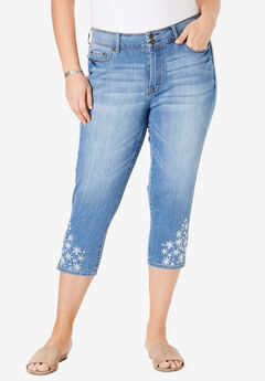 High-Rise Embroidered Cropped Skinny Jean by Chelsea Studio®,