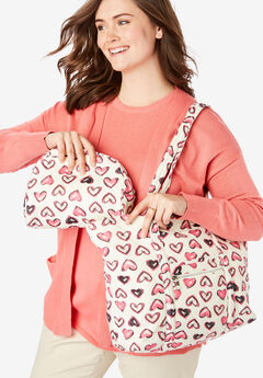Heart Print Tote and Cosmetic Pouch,