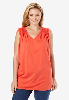Smocked Sleeveless Blouse,
