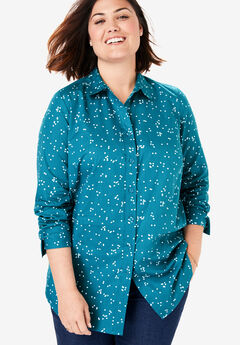 Perfect Long-Sleeve Button Down Shirt, DEEP TEAL DOT