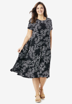 Short sleeve knit fit-and-flare dress, BLACK OUTLINED FLORAL