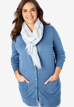 Texture Blocked Scarf with Fringe,