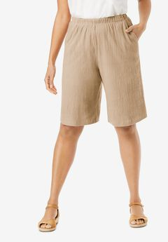 Elastic-Waist Knit Gauze Shorts,