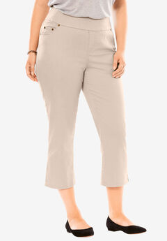 Smooth Waist Capri Jean, NATURAL KHAKI